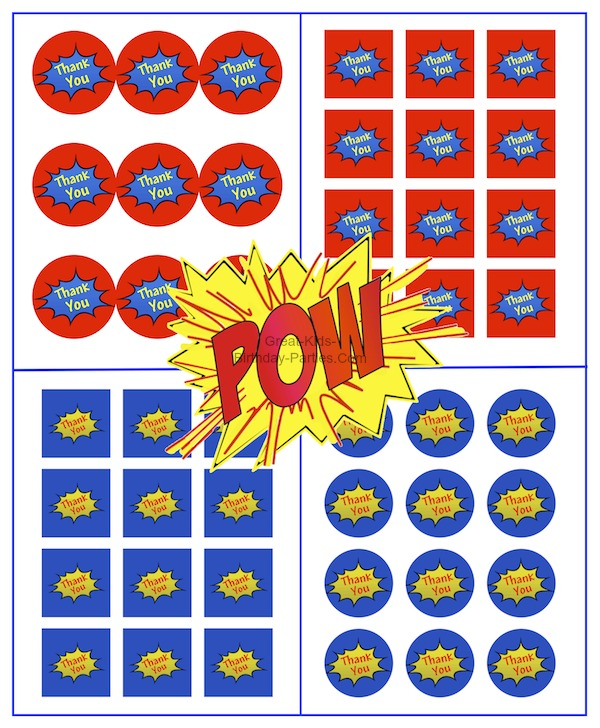 Superhero Thank-You Tags, 2 shapes, 2 colors, all free.
