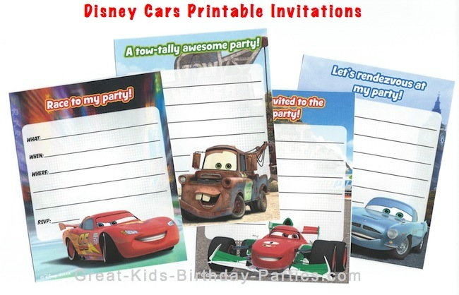 Disney Cars Printable Invitations