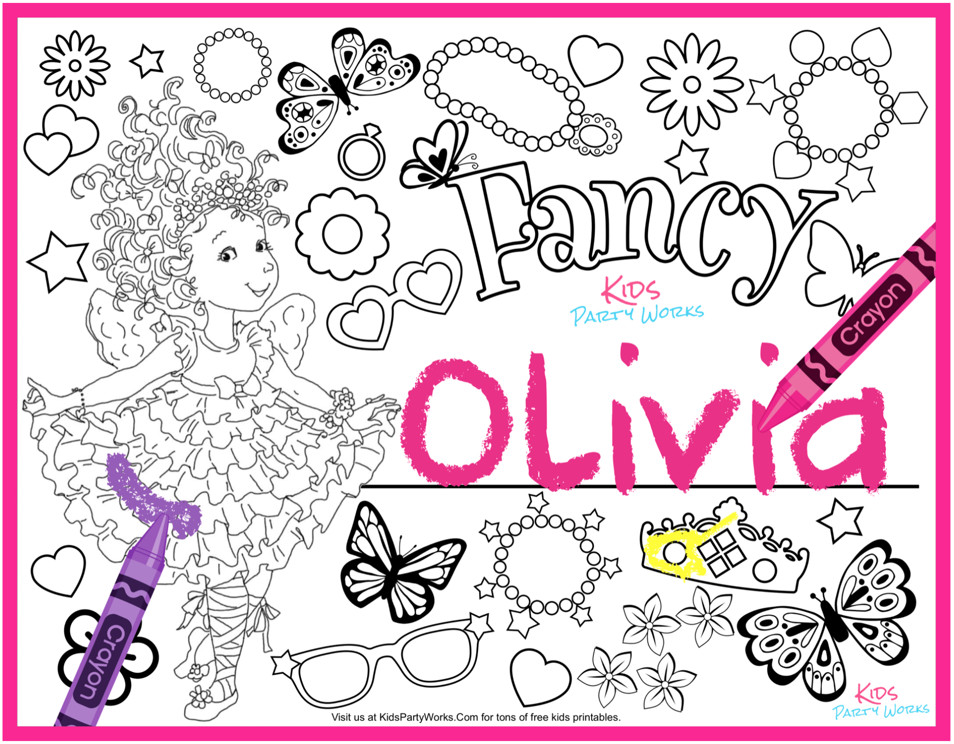 Free fancy nancy coloring page to personalize with your name.