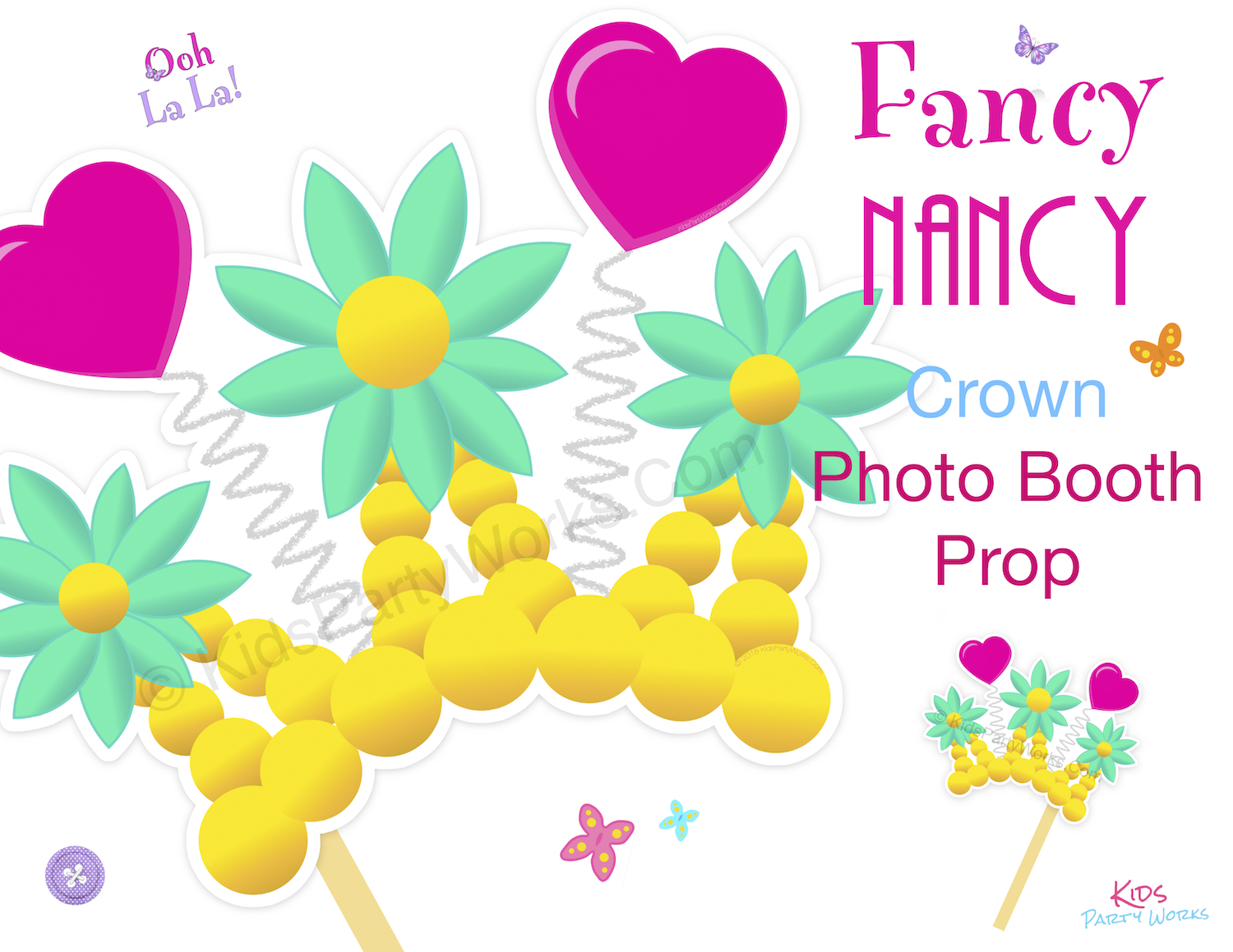 Fancy Nancy Crown Photo Booth Prop at KidsPartyWorks.Com. Free Printable
