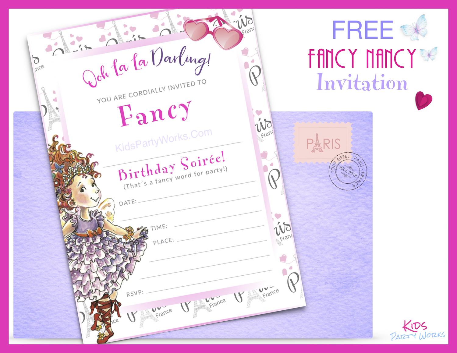 Free printable Fancy Nancy Birthday Invitation Template for Fancy Nancy Party.