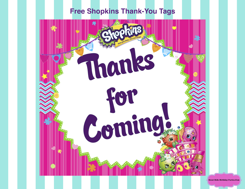 Free Shopkins Thank You Tags