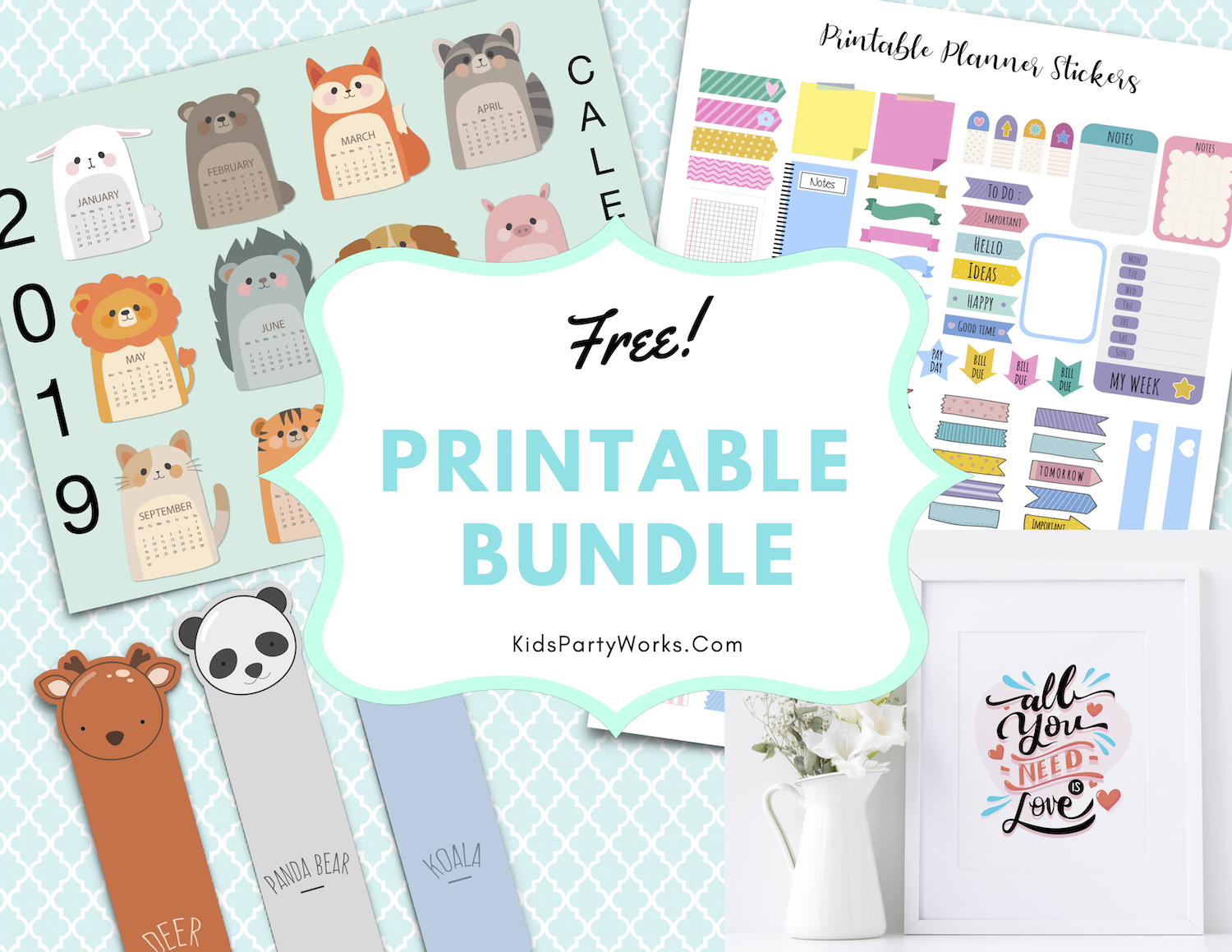 Kids Calendar and Printable Planner Stickers