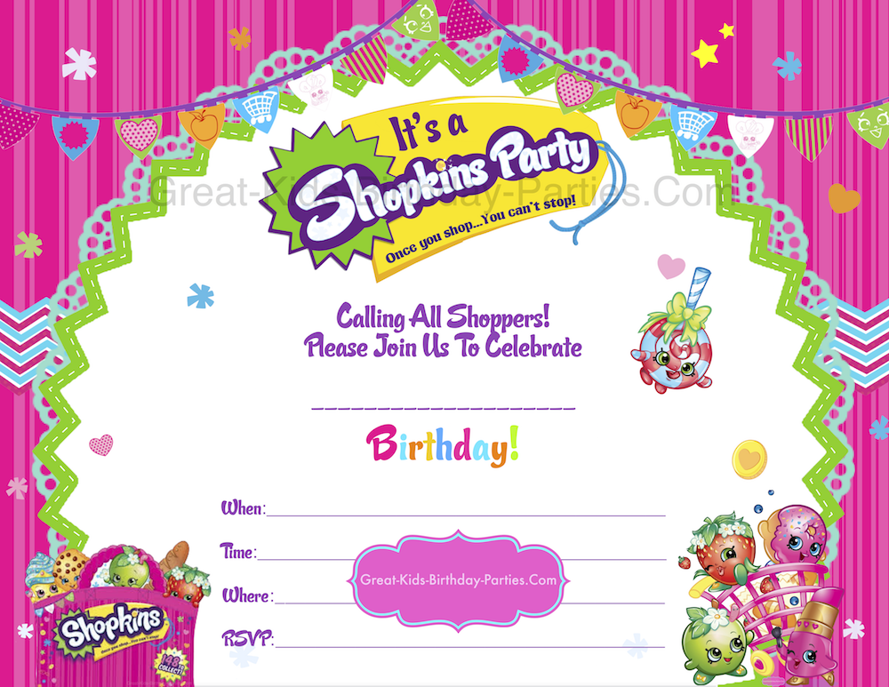 Free Shopkins Party Printables