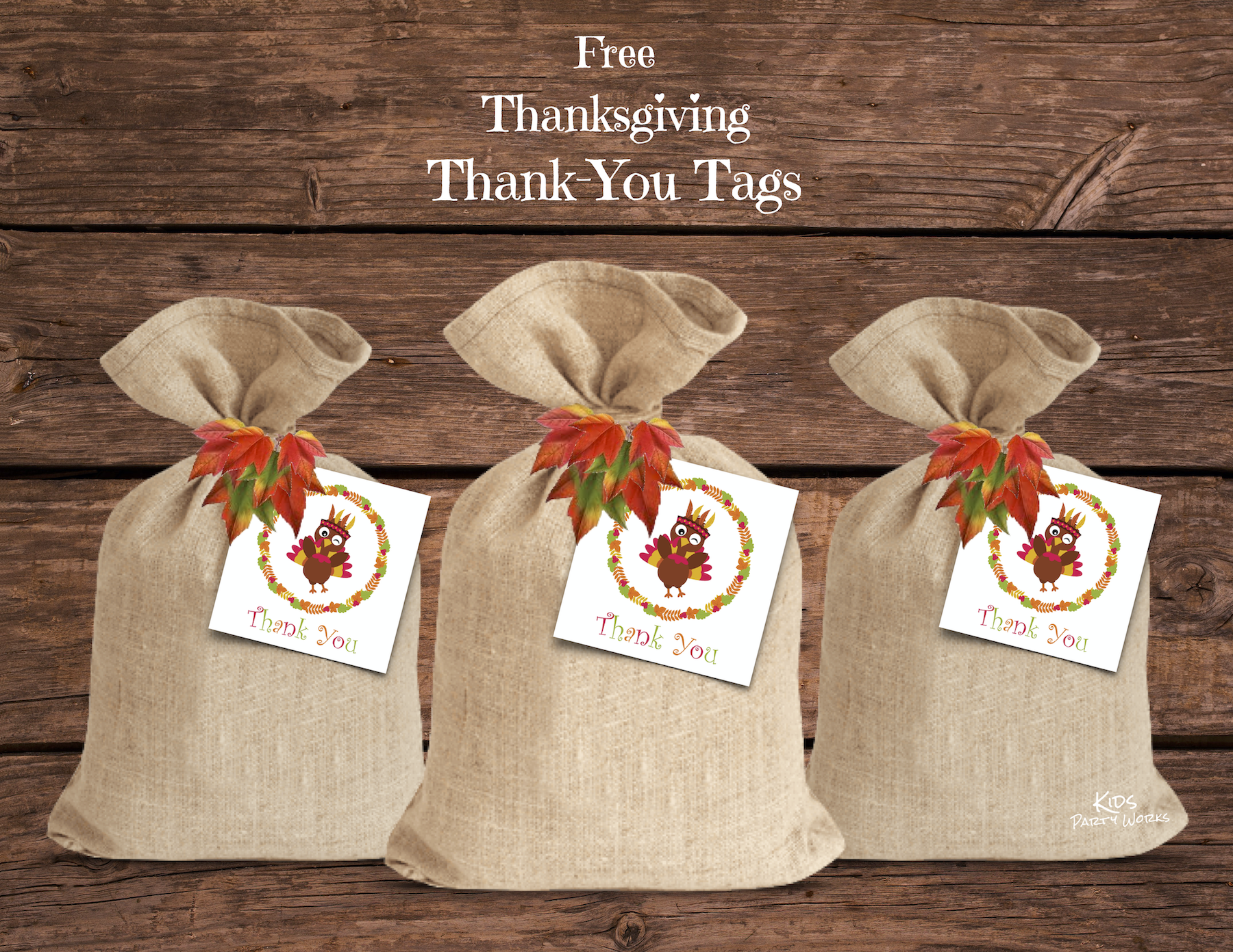 Free Thanksgiving Thank-You Tags at KidsPartyWorks.Com