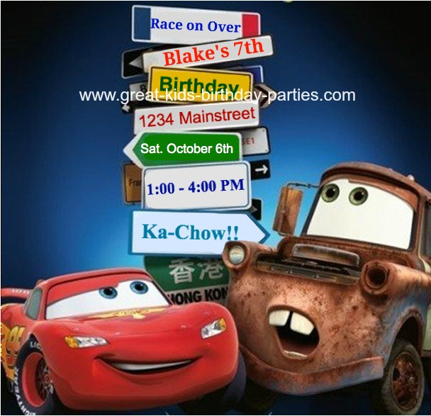 Disney cars birthday party heres 2 other cars invitations done using the same method as above so you can set the tone for a great birthday kids party solutioingenieria Image collections