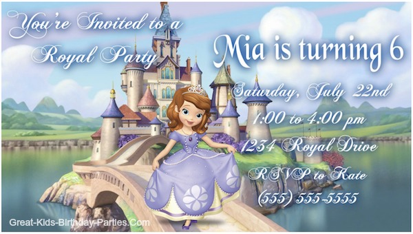 Sophia Birthday Invites Diy Sofia The First Invitations Birthday