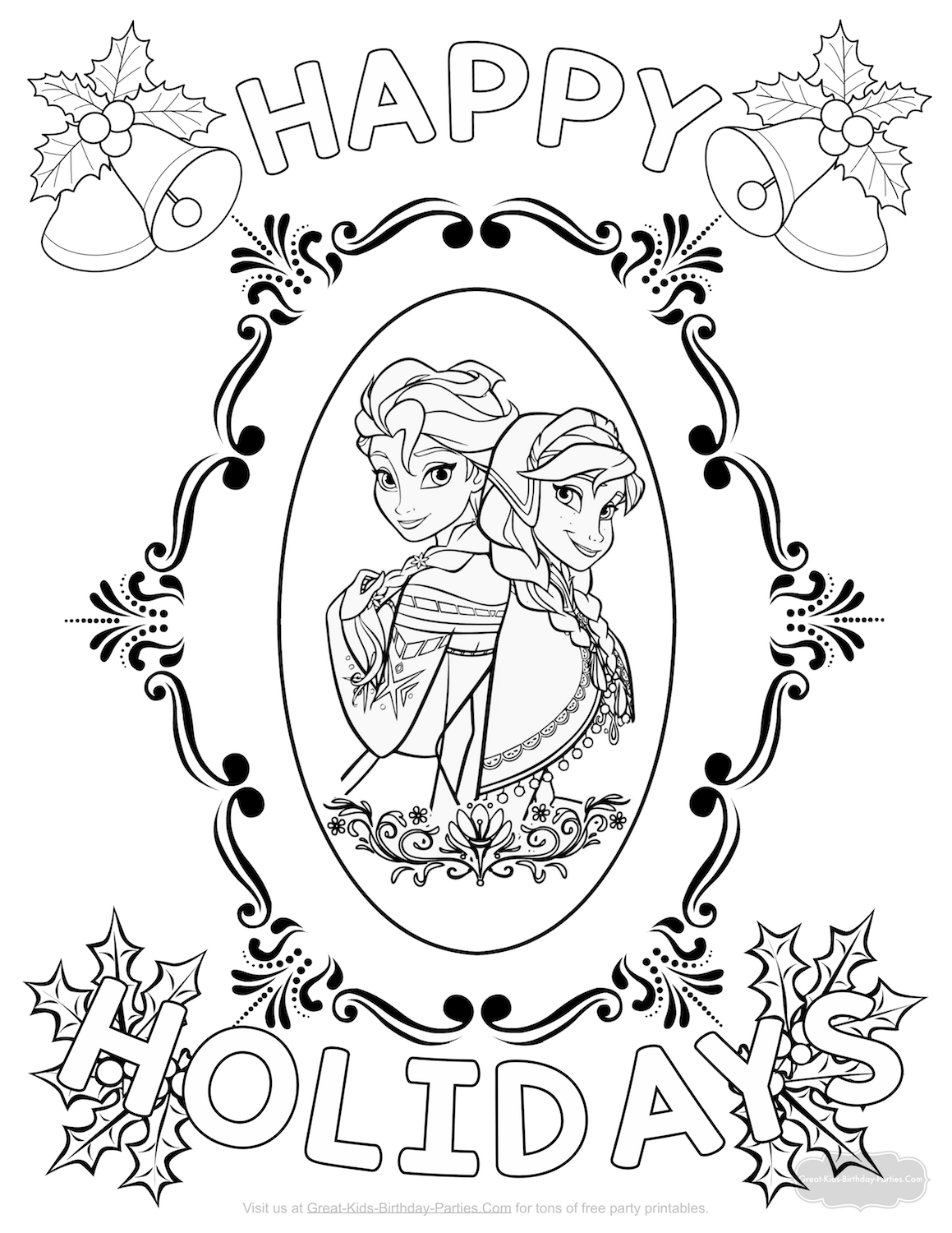 Frozen Christmas Coloring Page