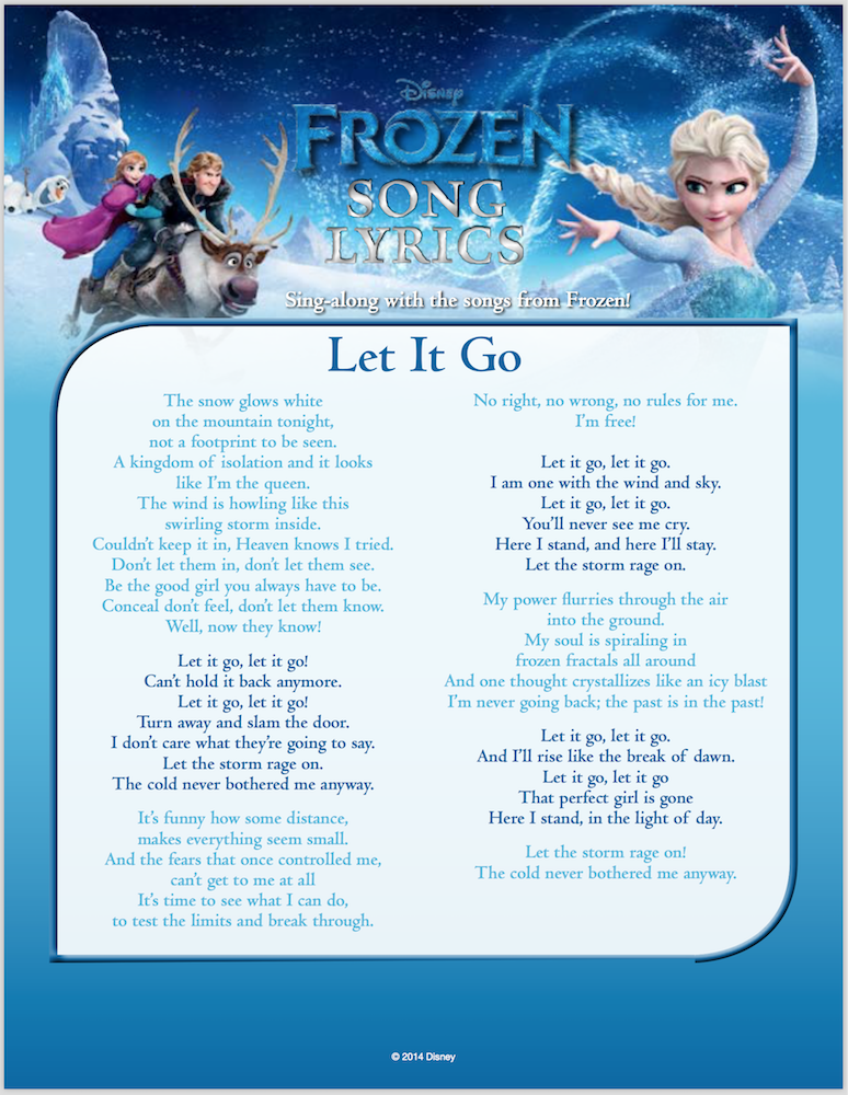 Frozen Let It Go Lyrics