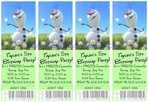 Frozen Invitations - Free printable ticket invitations, easy to make in minutes