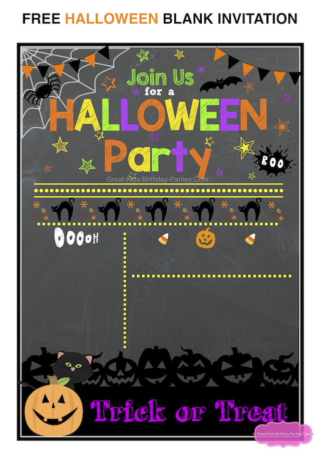 Start Your Halloween Party Planning With This Festive And Colorful Not So Scary Invitation Just Fill In The Information Youre Ready