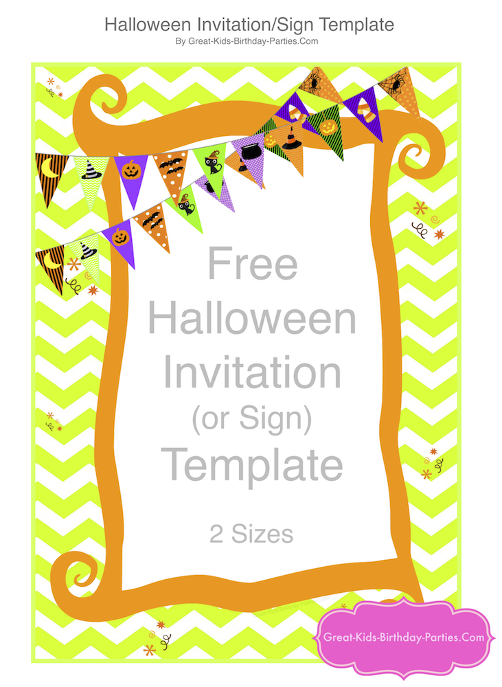 photo relating to Free Printable Sign Templates called Cost-free Halloween Printables