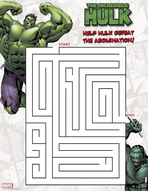 Hulk Maze Printable