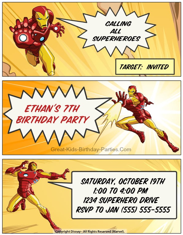 FREE IRON MAN Invitations–Begin your Superhero party with these cool and creative personalized invitations. Make your own IRON MAN Comic Strip Invitations, VIP Pass Ticket Invitations and lots more.