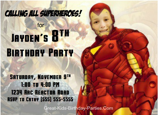 FREE IRON MAN Invitations–Begin your Superhero party with these cool Iron Man character invitations. Or make your own IRON MAN Comic Strip Invitations, VIP Pass Ticket Invitations and lots more.