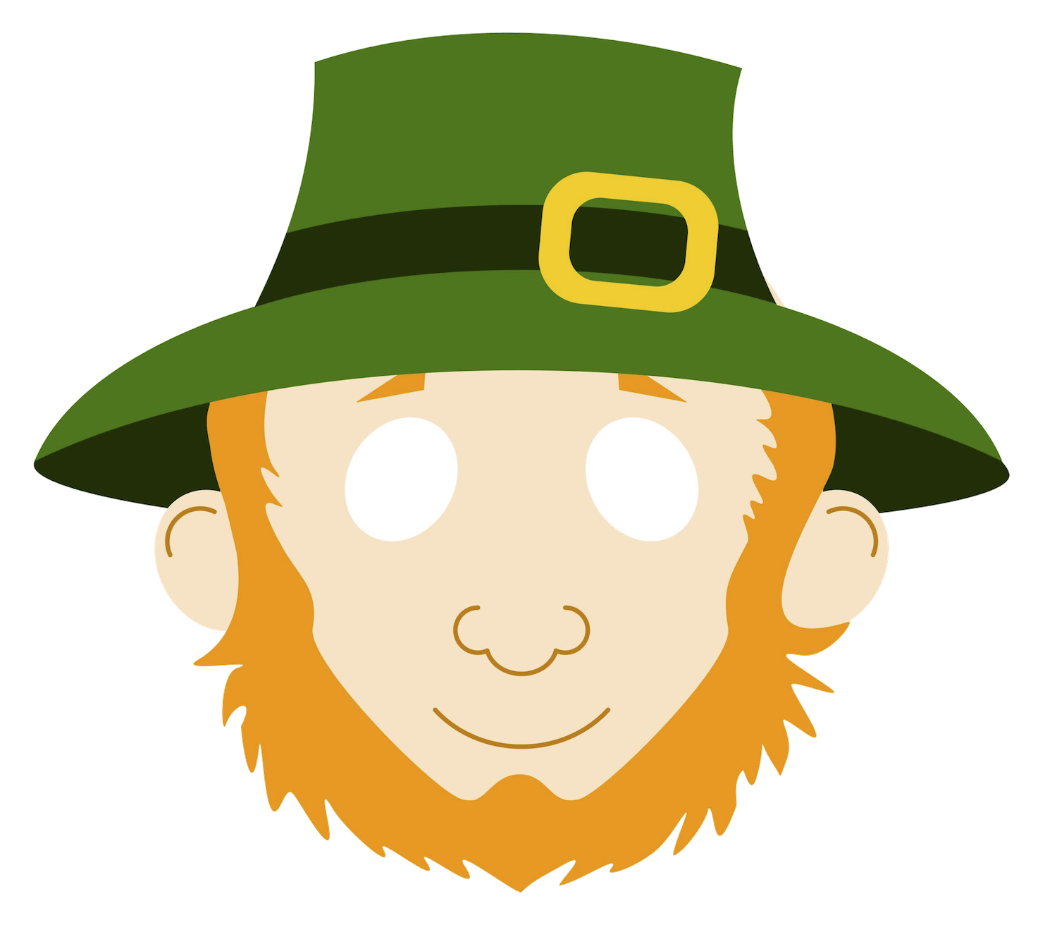 Leprechaun Mask - Also comes in black & white to color.