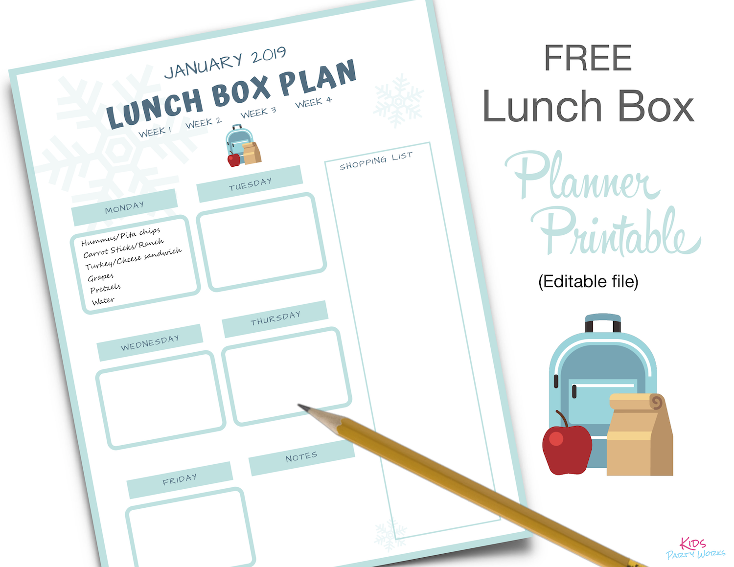 Free Lunch Box Planner. KidsPartyWorks.Com
