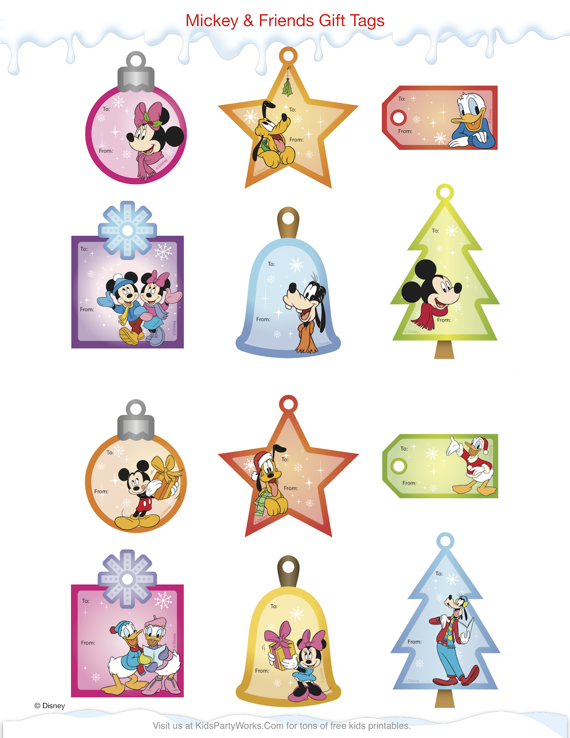 Mickey Christmas Gift Tags