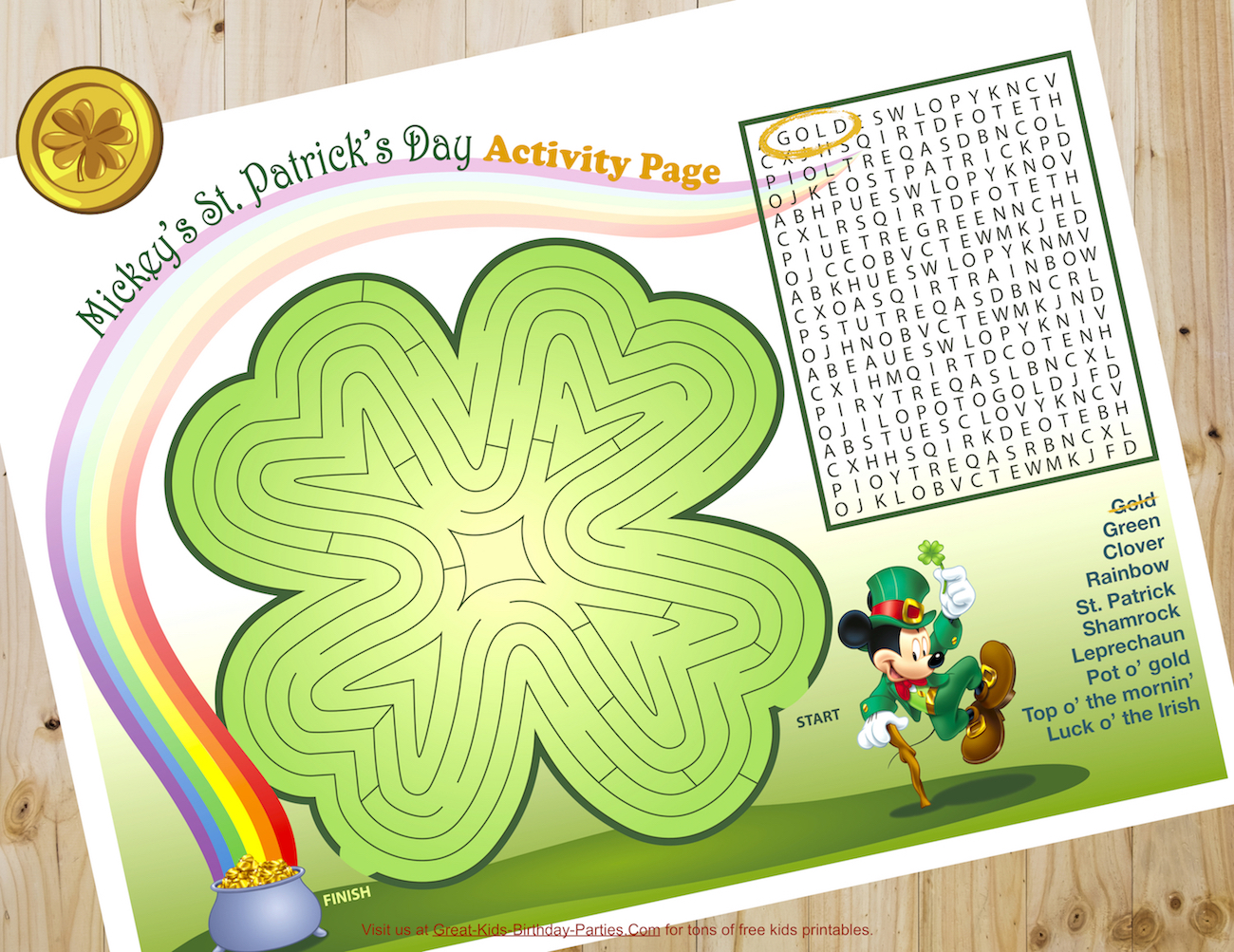 St. Patrick's Day Mickey Coloring Pages