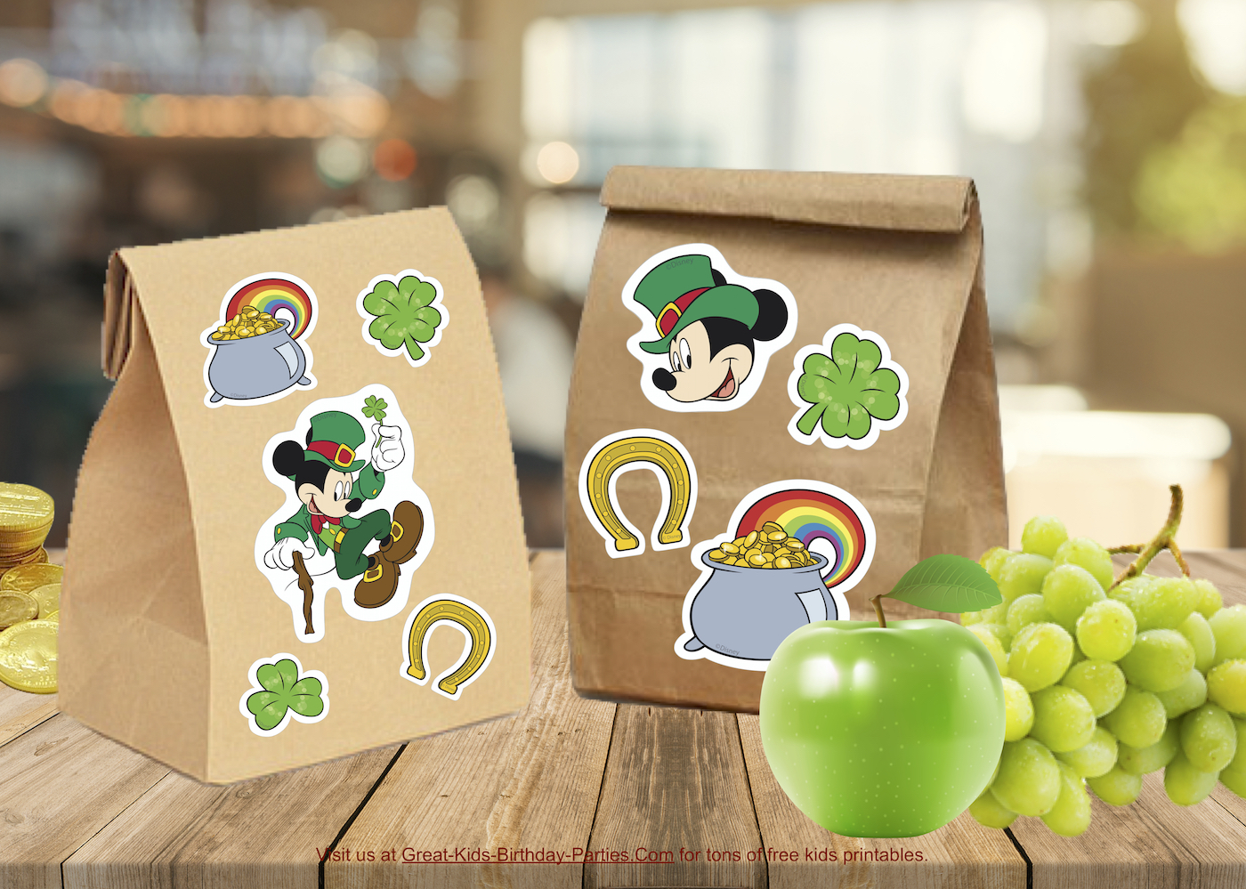 Free Mickey St. Patrick's Day Stickers