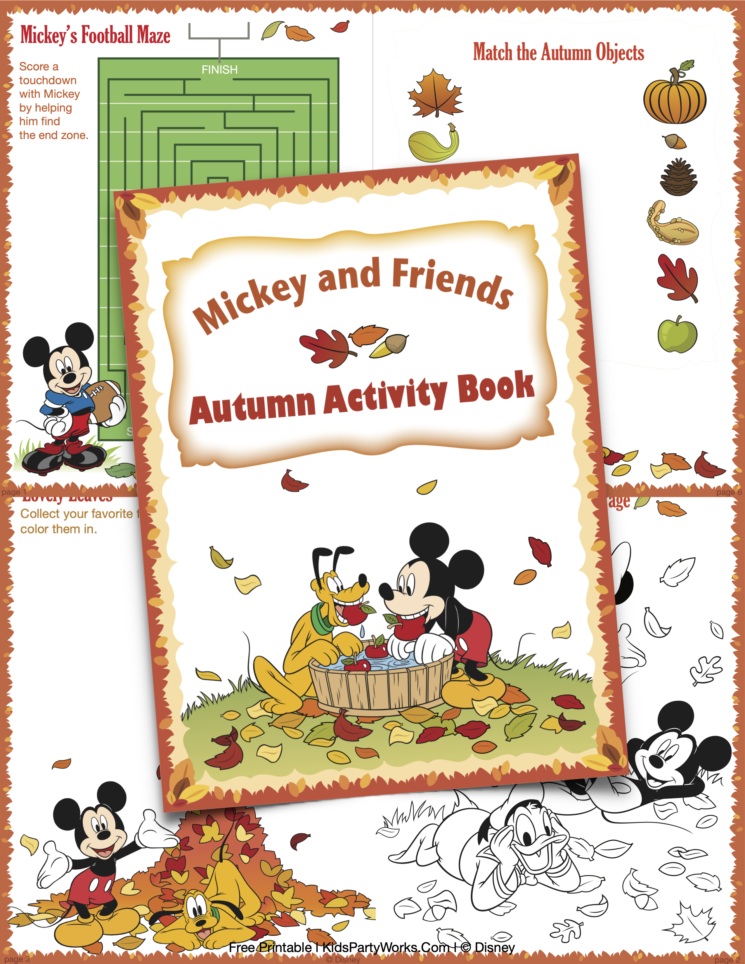 Mickey and Friends Activity Printable Book Autumn