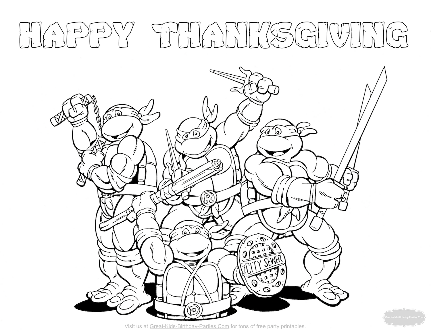 Ninja Turtles Thanksgiving coloring page