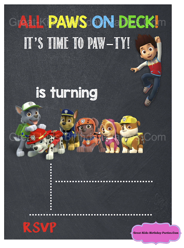 Heres An Example Of A Filled Paw Patrol Birthday Chalkboard Invitation Please Note That This Is Only The Template