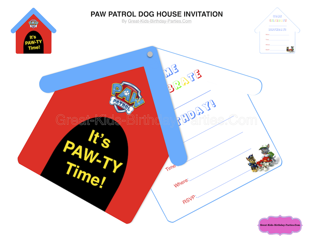 Heres A Fun And Free Paw Patrol Birthday Interactive Invitation That Kids Will Love This Dog House Is Easy To Make Perfect For
