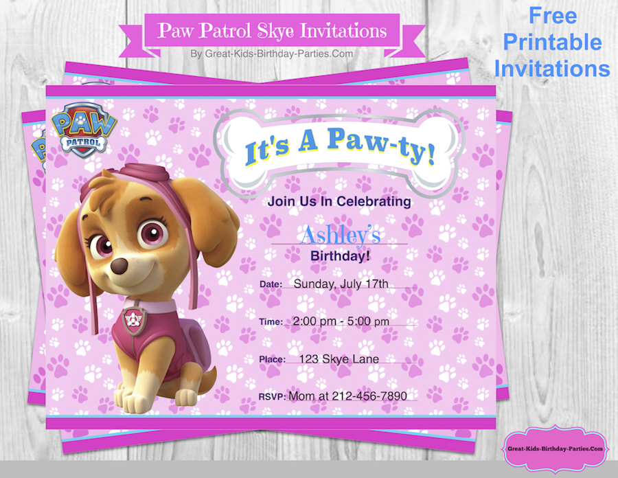 graphic about Printable Paw Patrol Invitations named Paw Patrol Birthday