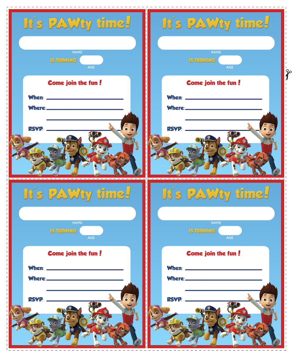 graphic relating to Paw Patrol Printable Birthday Card titled Paw Patrol Birthday