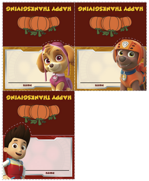 Paw Patrol Thanksgiving Food Labels at KidsPartyWorks.Com