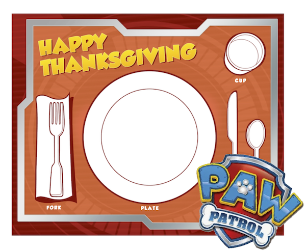 Paw Patrol Thanksgiving placemat