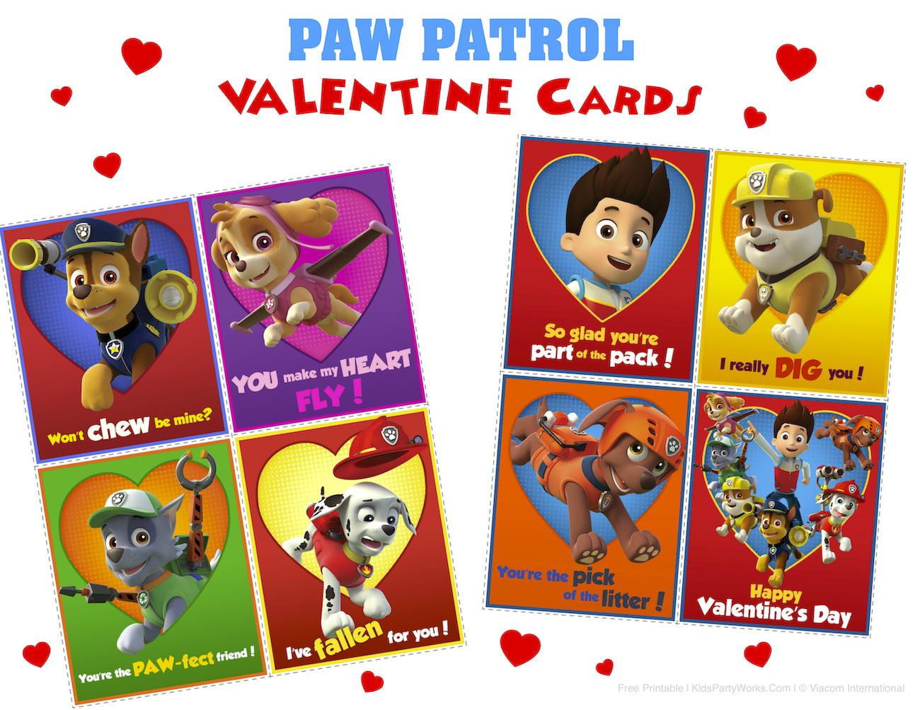 Paw Patrol Valentines Printable