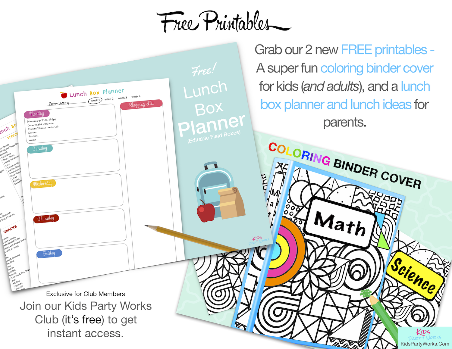 Free Planner Printable and Coloring Binder Cover. KidsPartyWorks.Com