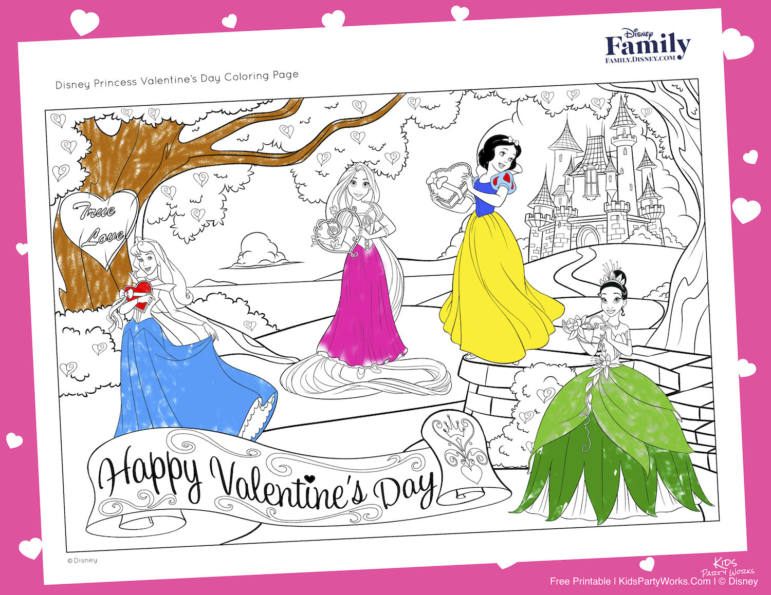 Disney Princess Valentines Coloring Page. Visit KidsPartyWorks.Com for lots of kids free printables.