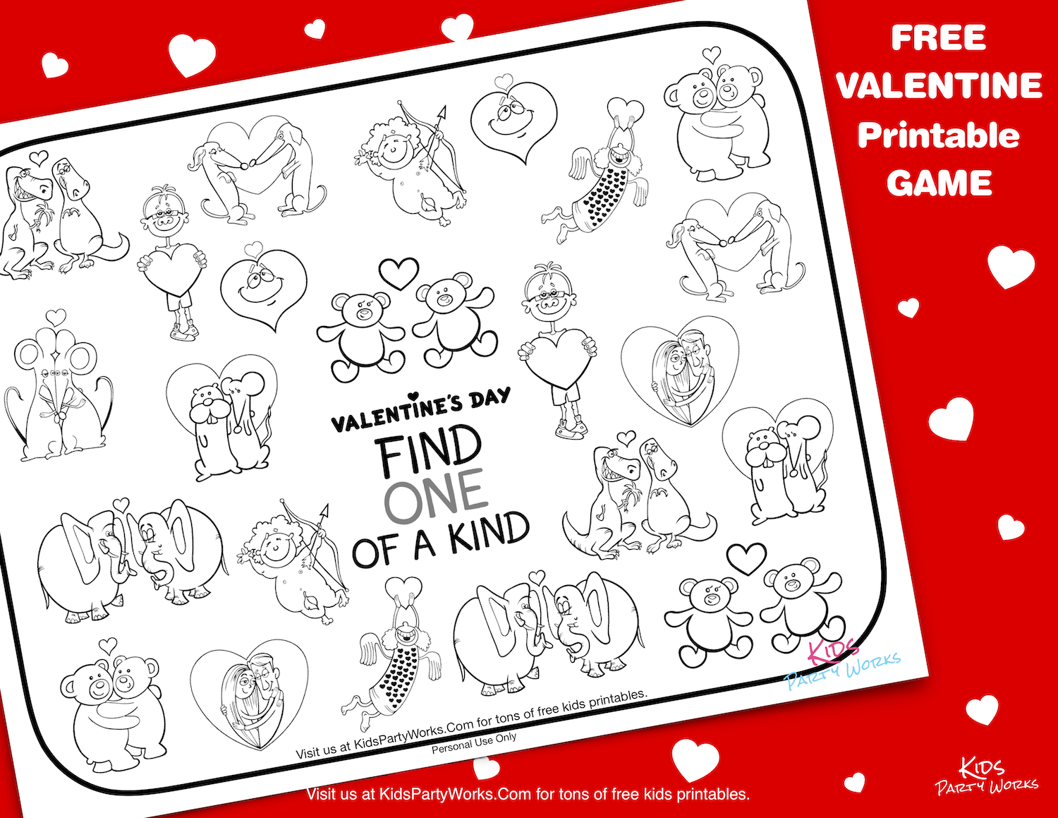 Free Valentine Printable Game. KidsPartyWorks.Com