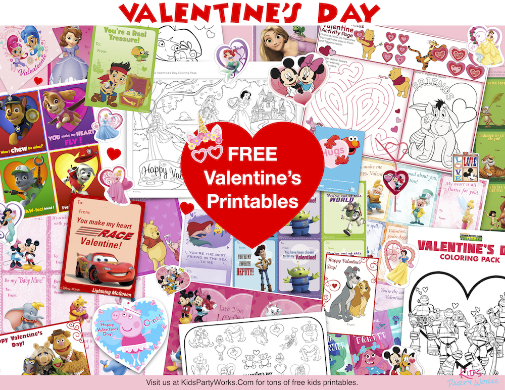 Tons of FREE Valentine Printables for kids including cards, coring pages, printable games, stickers and lots more! KidsPartyWorks.Com