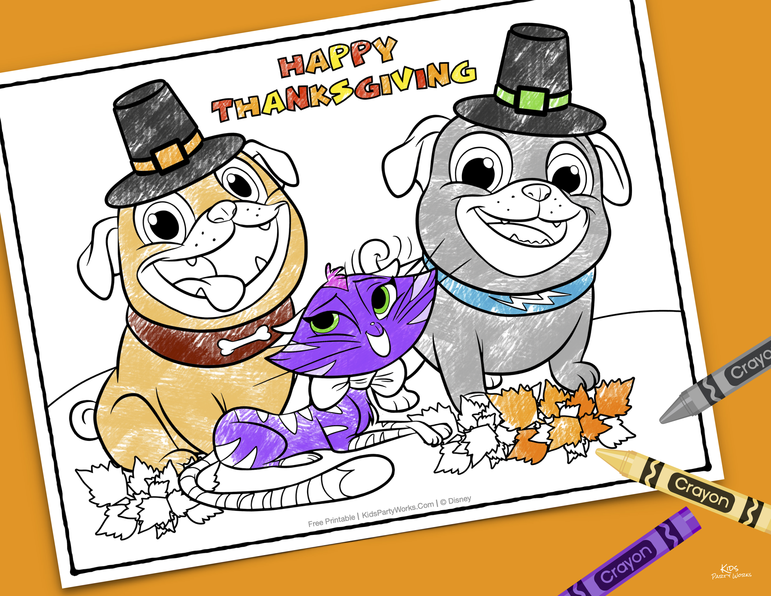 Puppy Dog Pals Thanksgiving Coloring Page