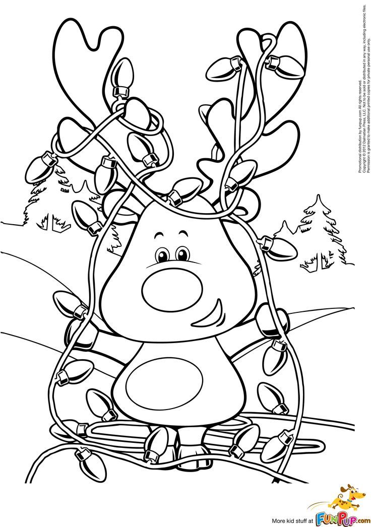 Heres A Cute Christmas Coloring Page Of Reindeer Tangled In Lights Unfortunately The Website Where This Comes From Is Not Working