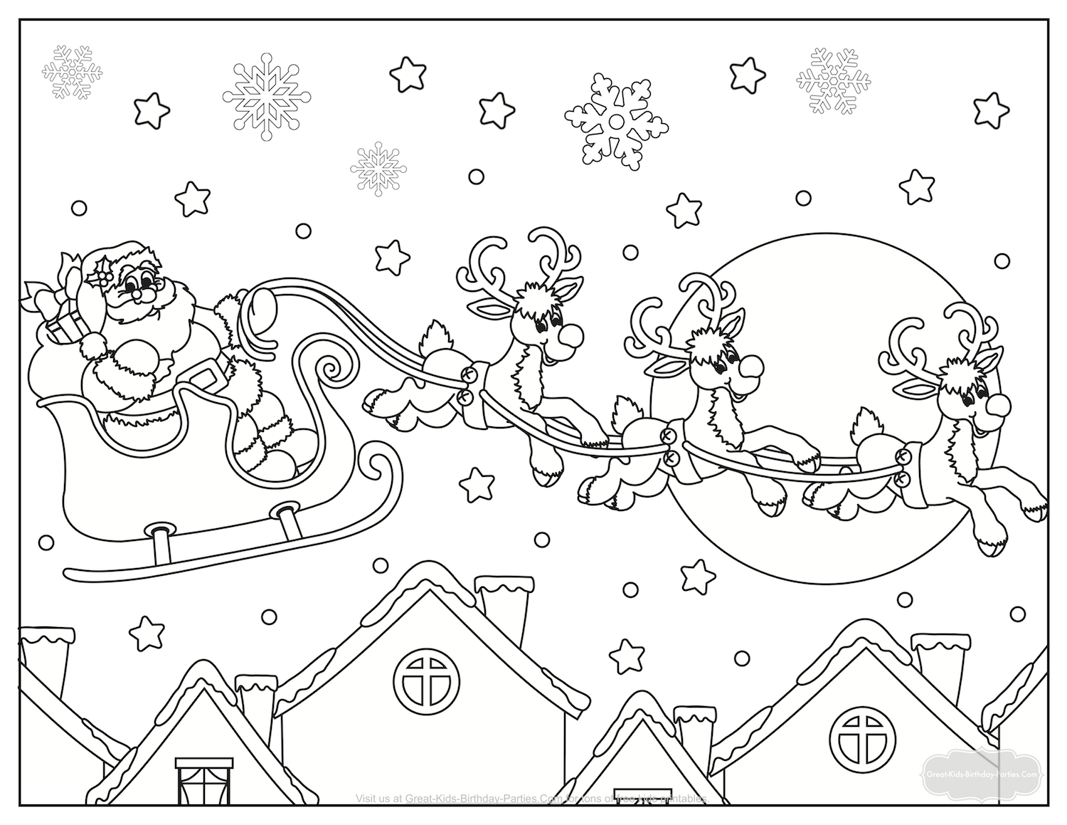 santa flying coloring page