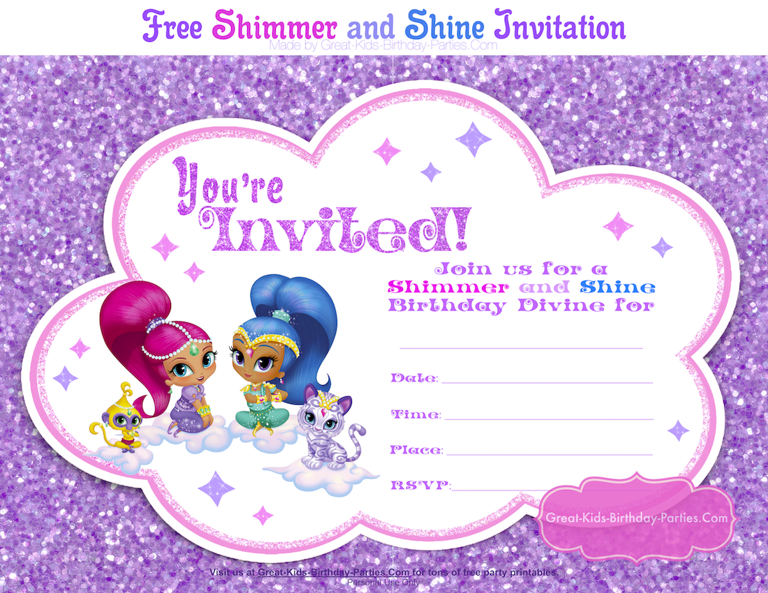 nickelodeons shimmer and shine fans will love our fun invitation and get guests ready for a magical and glitter tastic birthday bash download your free