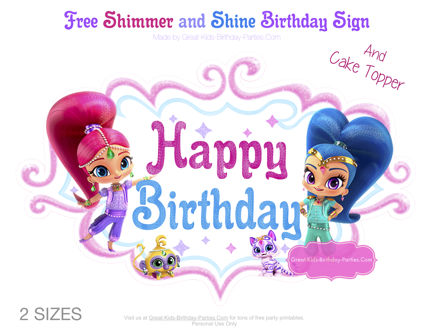 and shine birthday party start with our free birthday sign and cake topper to plan your glitter tactic birthday bash download both shimmer and shine
