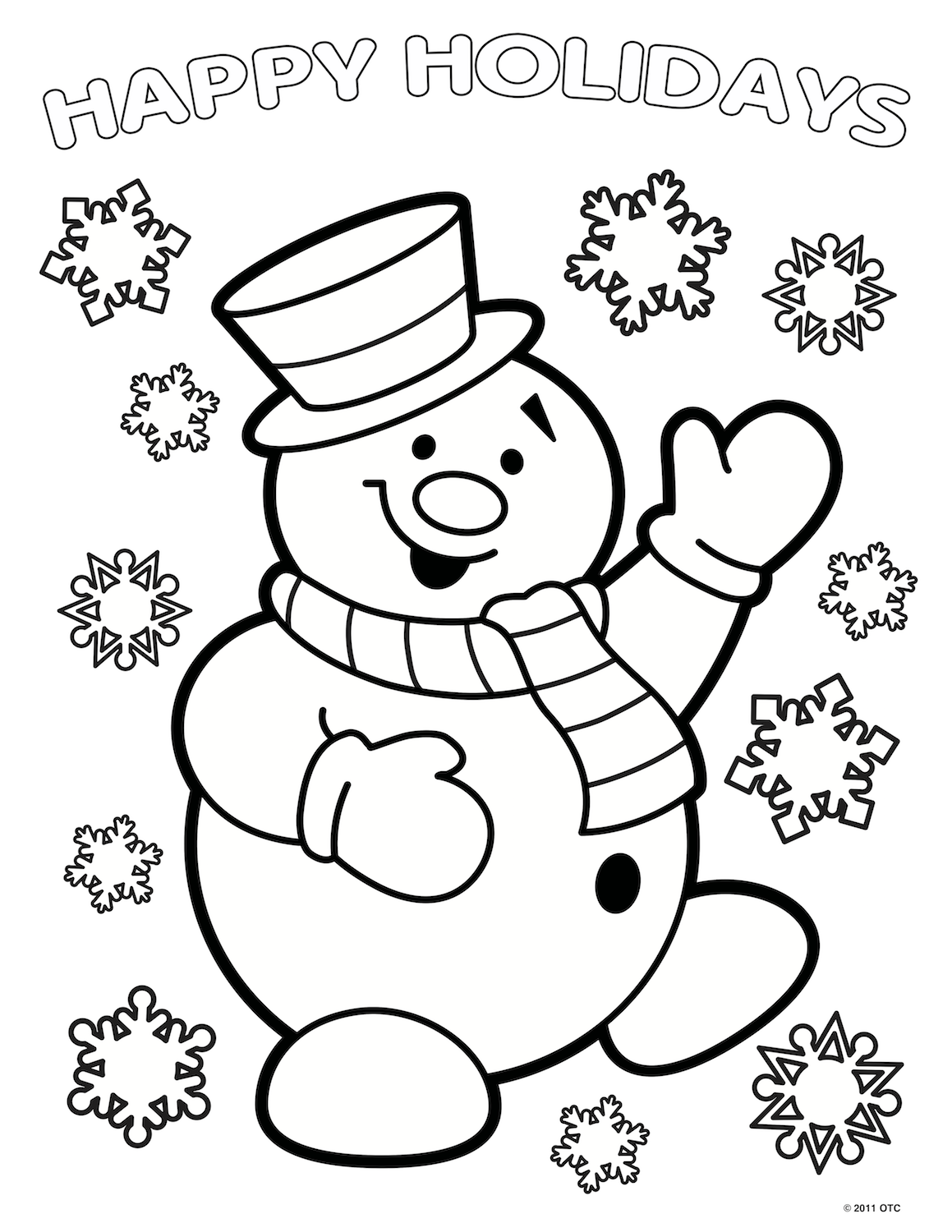 This Beautiful Snowman Is Originally From FreeFun Christmas And We Added The Happy Holidays For Extra Coloring Fun To Download Original Version Click
