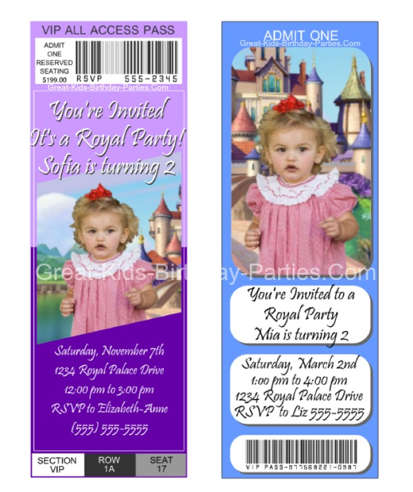 Sofia the first invitations are you ready to begin making your own sofia the first invitations then click here and have fun creating your own free ticket invitations stopboris Gallery