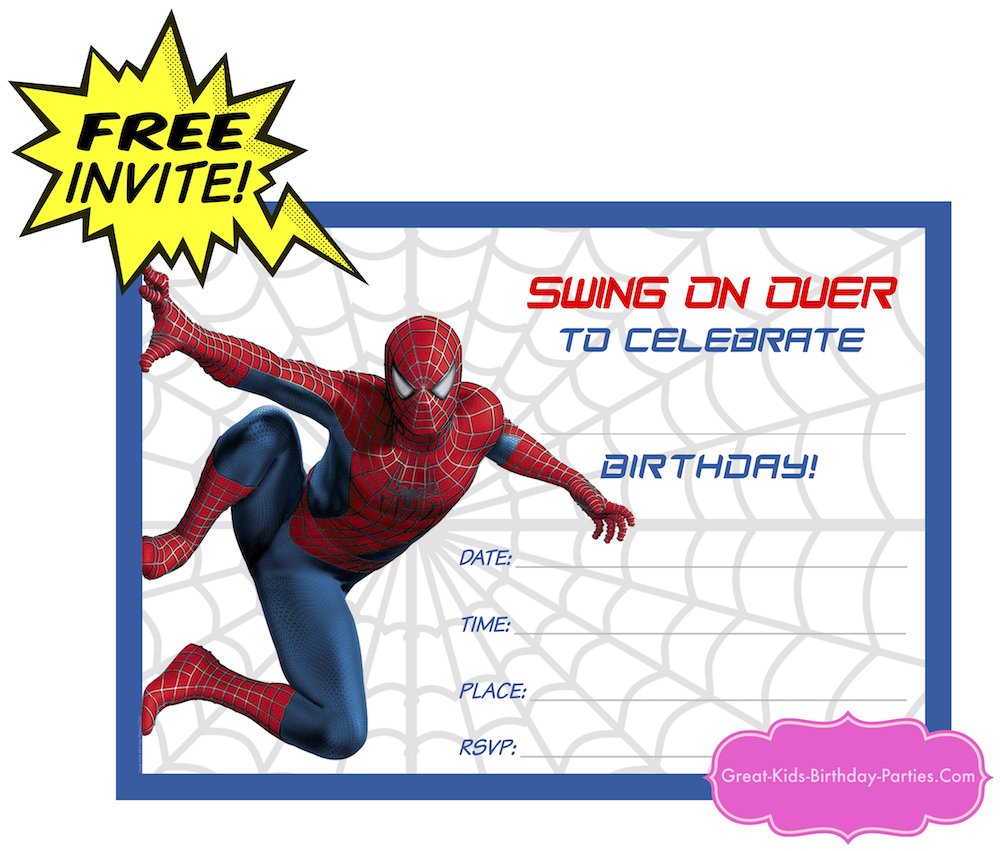 Come Check Out Our New Spiderman Invitation Its Free And Easy To Print Also Comes Blank So You Can Edd Your Own Text Visit Superhero Printables Page