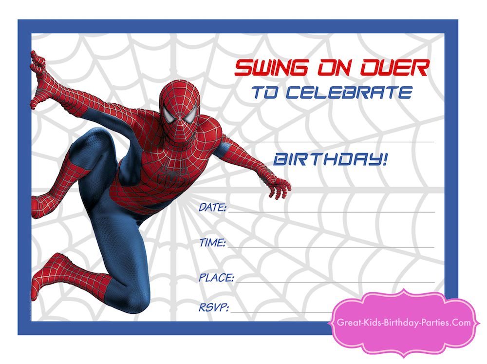 Download Your Spiderman Printable Here And Because Our Superhero Visitors Are The Best We Made A Blank Invite For You To Fill In With Own Text