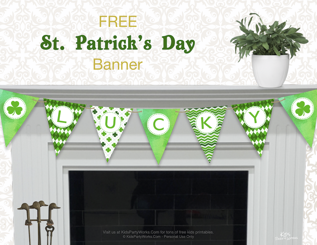 Free Printable St. Patrick's banner from KidsPartyWorks.Com