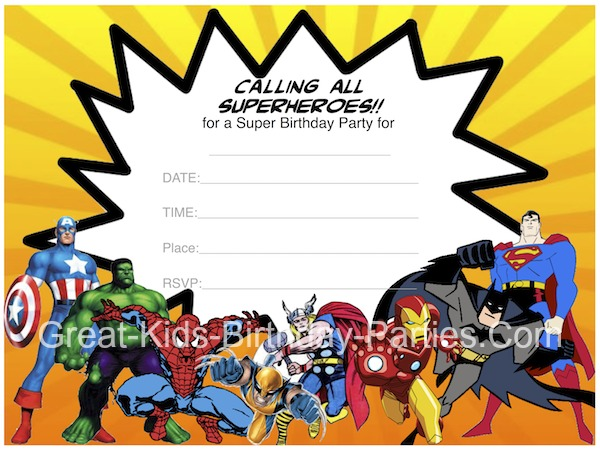 Free Superhero Invitations  - Superhero Printables including invitations, superhero bubbles, coloring pages and lots more!