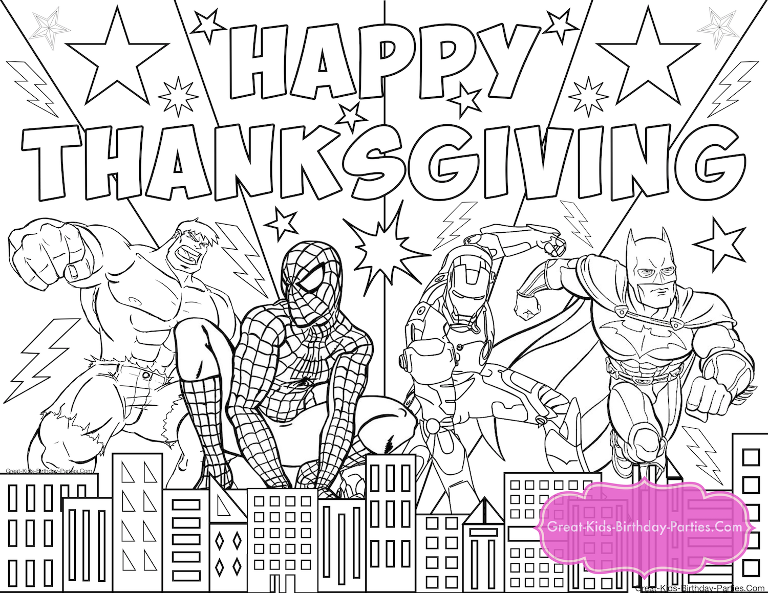 Superhero Thanksgiving coloring pages for kids