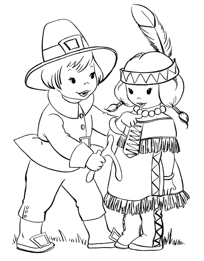 Thanksgiving pilgrim and native American coloring page